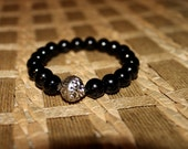 Black Stretch bracelet with silver accent