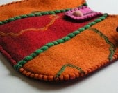 Felted wool shoulder purse - great gift - colorful and fun - SECONDS