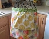 Floral Reversible cotton Apron in Yellow, Green, Pink and Red- Designer Fabric