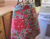 Reversible Cotton Floral Apron in Blue and Pink Designer Fabric - kimbuktu