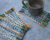 Batik Mug Rugs: Hand-Woven Cotton Fabric Coasters in Blue Green Brown - kimbuktu