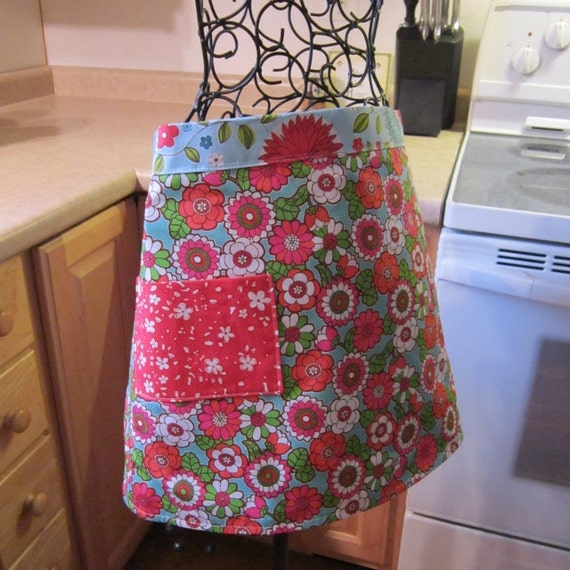 Reversible Cotton Floral Apron in Blue and Pink Designer Fabric