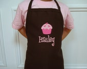 Personalized kids child Girl Pretend Play Brown Cupcake apron Great Christmas Gift