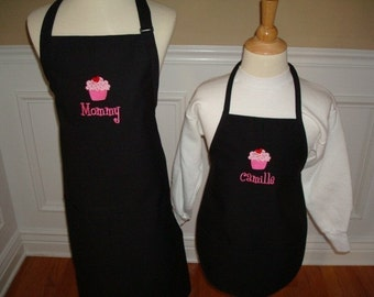 Christmas gift Personalized Mommy and me Daugther black  Apron Set mama grandma nana girl mother abuelita mothers Day Gift