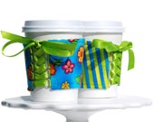 Flowers Bright Cup Cozy - This Cozy is Reversible and Adjustable