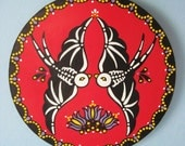 Day of the Dead HEX SIGN Traditional Folk Art Painting w/ Skeletal Swallow Birds Red