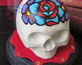 Old School Tattoo Skull Art  w/ Display Base - Rose and Flowers