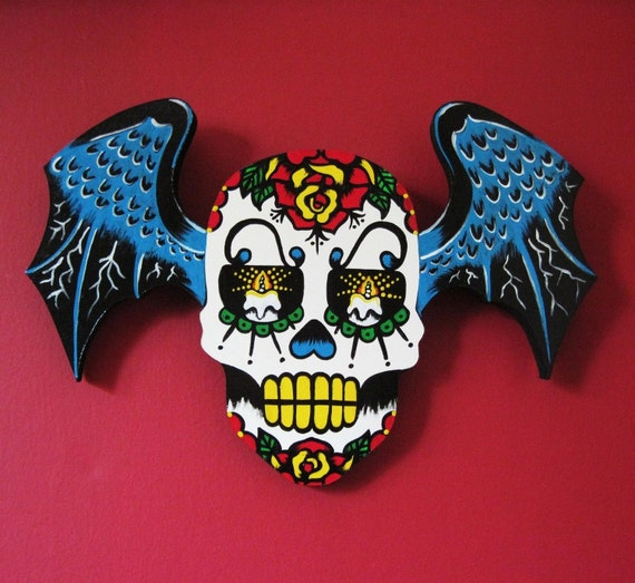 Day of the Dead WINGED SUGAR SKULL Wall Hanging