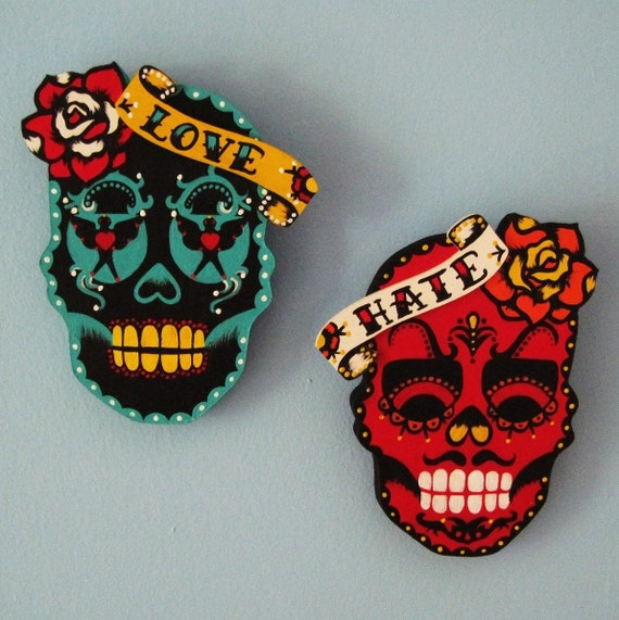Dia de los Muertos LOVE and HATE Sugar Skull Wall Hanging Set