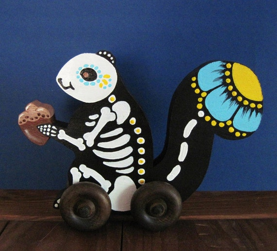 Skeleton SQUIRREL Day of the Dead Folk Art Toy Vintage Style