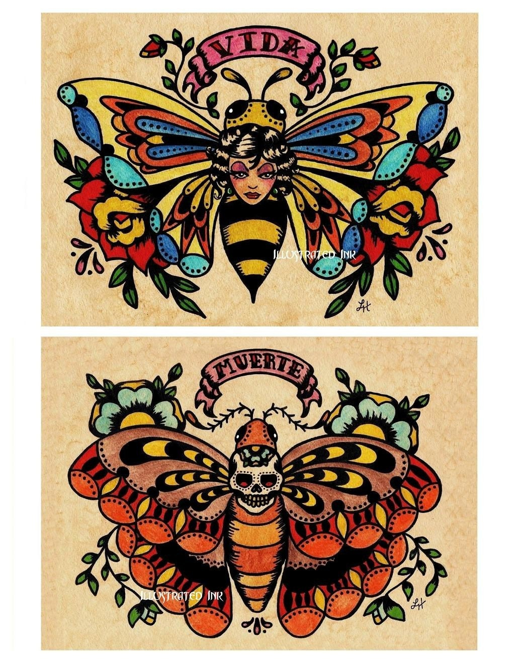 old school tattoo vida bee lady and muerte skull moth 5 x 7. Black Bedroom Furniture Sets. Home Design Ideas