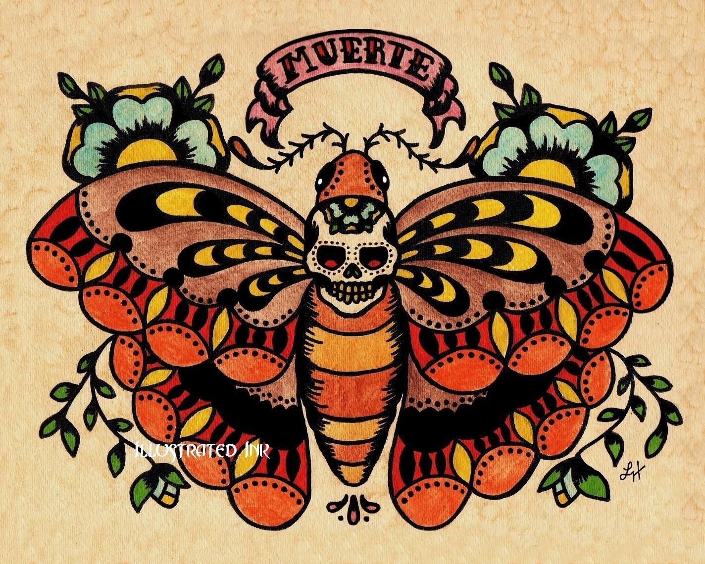 Old school tattoo muerte skull moth print free shipping for Traditional old school tattoo designs