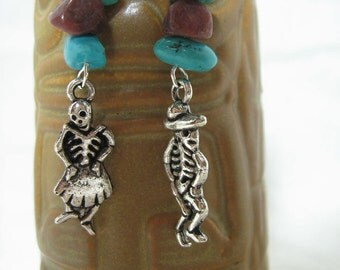 Day of the Dead skeleton earrings READY TO SHIP!