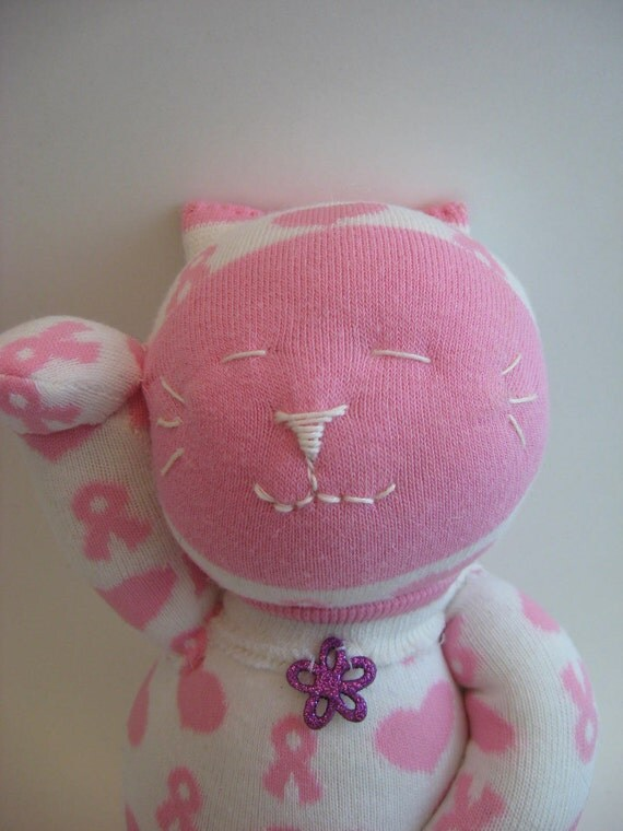 Sock kitty for Breast Cancer awareness
