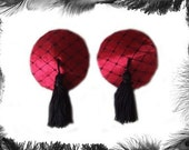 Satin and Net Nipple Tassels, Burlesque wear, available in red, white, black, purple, pink, silver....