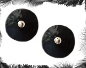 Leather Pvc Look Silver Stud Nipple Pasties, Gothic, Fetish, available in 3 sizes.
