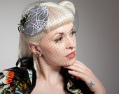 Spider on Spider Web Lace Cocktail Hat Gothic Psychobilly