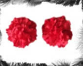 Red Carnation Flower Nippel Pasties, Burlesque Wear