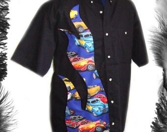 Hot Rods Flame Shirt, Rockabilly Wear