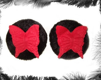 Velvet and Butterfly Nipple Pasties, Burlesque wear, Red, Black