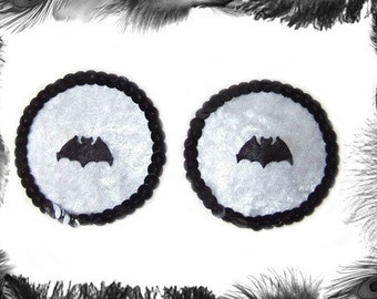 Bats and Sequins Velvet Nipple Pasties, Burlesque wear, Gothic, Black, White, Red, Purple, Pink