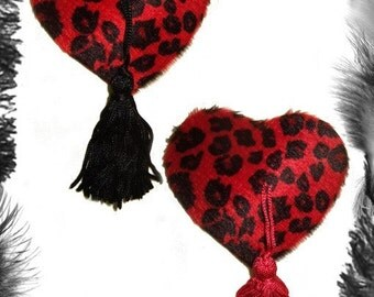 Leopard Print Heart Nipple Tassels, Burlesque, Rockabilly, in 3 sizes and 3 colours.