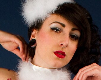 Satin Feathers Choker, Burlesque Wear, Available in White, Black or Red