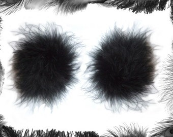 Feather Nipple Pasties, Burlesque Wear, in black, red or White