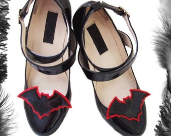 Pvc Bat Shoe Clips, Gothic, Vampire, available in many colours