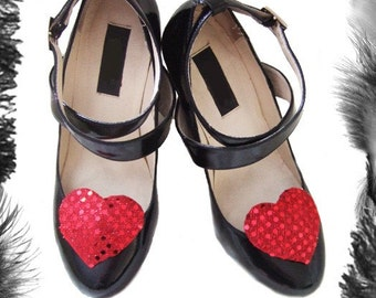 Large Sequin Hearts Shoe Clips, Burlesque Accessory, available in many colours