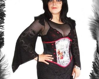 Alice in Wonderland Queen Of Hearts Underbust Corset, sizes 6 to 36