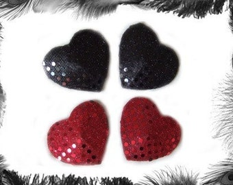 Sequin Heart Nipple Pasties - In 3 Sizes and 8 Colours.