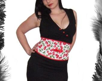 Cherries Waist Cincher, Corset Belt, Rockabilly Wear, Any Size, Steel Boned