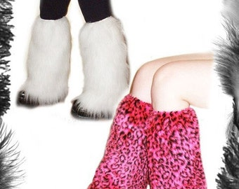 Furry Leg Warmers, 7 colours available inc leopard print