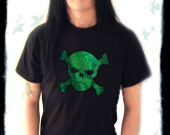 Skull Glitter Foil TShirt, Glam Rock, Green or Red Motif, SALE