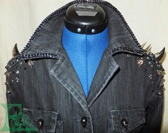 Custom Made Spikes, Studs, Swarovski, Rhinestones and Chain Denim Jacket - guys or gals, any size, True Blood Inspired.