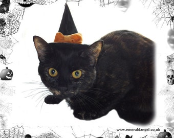 Satin & Bow Pet Witch Hat, Halloween, Pet Costume