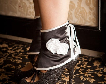 Satin and Roses Spats, Classy Couture Accessory, in many colours