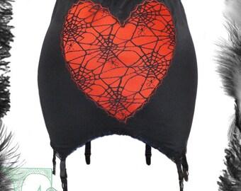 Spider Web Lace & Satin Girdle, Garter Belt, Gothic