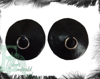 Leather Look Silver Ring Burlesque Pasties, Gothic, Fetish