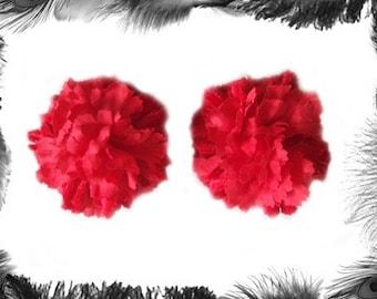 Red Carnation Flower Burlesque Pasties, Burlesque Wear