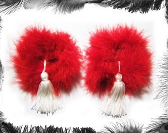 Feather Nipple Tassels, Burlesque Wear, available in 3 sizes and 3 colours