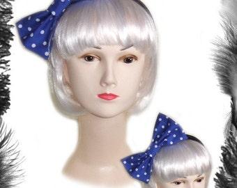 Blue Polka Dot Big Hair Bow, Rockabilly