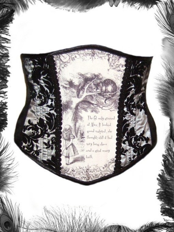Alice in Wonderland Print Underbust Corset, Cheshire Cat, Custom Size.