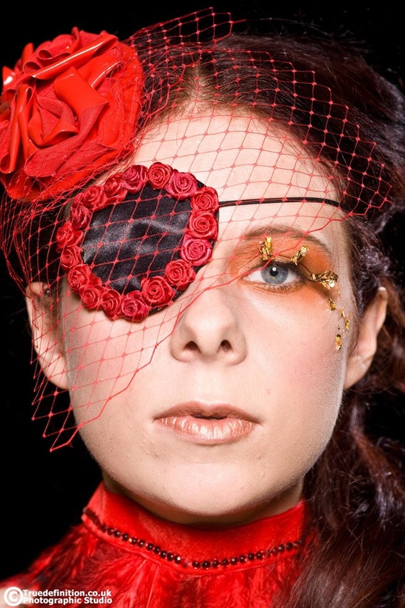 Satin Roses Eye Patch, Burlesque Pirate, Gothic Glamour