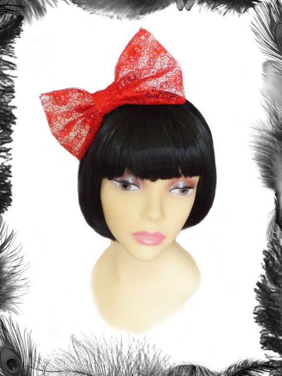 Lace Big Hair Bow, available in black, red, white, purple or burgundy
