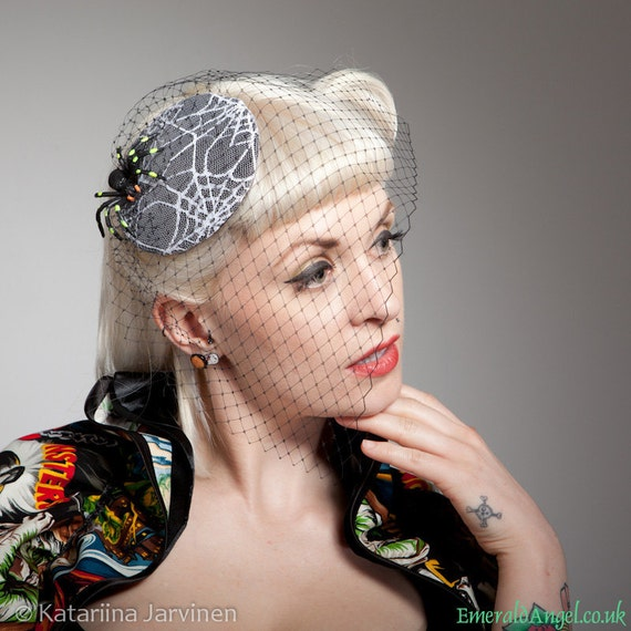 Spider on Spider Web Lace Cocktail Hat, Gothic, Psychobilly