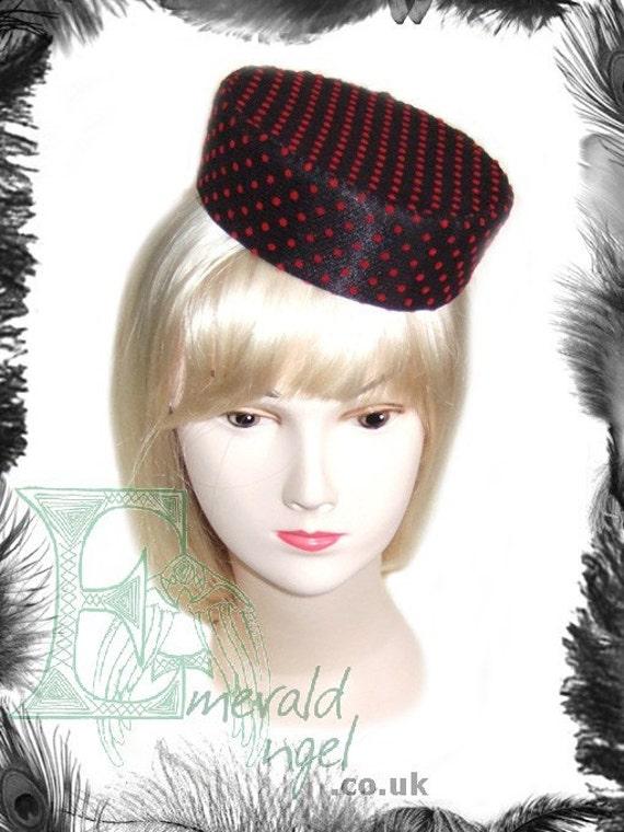 Polka Dot Pill Box Hat, Retro, Rockabilly, Dita, Red, Black, Pink - WITHOUT VEIL