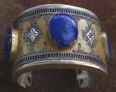 Lapis Lazuli Cuff with Gold Wash, Afghanistan- Kazakh