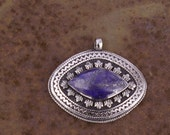 Afghanistan, Vintage Pashtun Sterling Silver Lapis Lazuli Pendant, N42